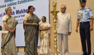 The President, Shri Pranab Mukherjee lighting the lamp to inaugurate the ECGC Diamond Jubilee function, in New Delhi on November 08, 2016. The Commerce Secretary, Ms. Rita A. Teaotia is also seen.