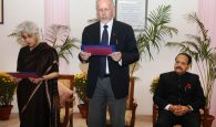 The Chairman, UPSC, Prof. David R. Syiemlieh administering the oath of office and secrecy to Ms. Sujata Mehta, as Member, Union Public Service Commission (UPSC), in New Delhi on February 21, 2017.
