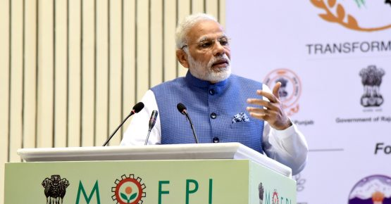The Prime Minister, Narendra Modi addressing the gathering at the inauguration ceremony of the World Food India 2017, in New Delhi on November 03, 2017.